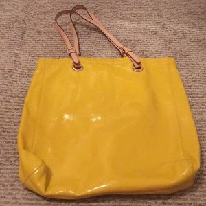 Michael Kors yellow patent leather tote bag